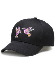 Flying Bird Embroidery Decorated Baseball Hat - BLACK