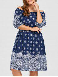 Bohemian Plus Size Floral Off The Shoulder Dress -