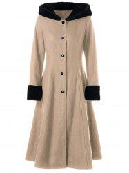 Hooded Longline Lace Up Coat - LIGHT KHAKI XL