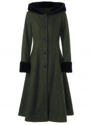 Hooded Longline Lace Up Coat - OLIVE GREEN L