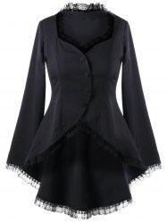 Sweetheart Neck Lace Trim Dip Hem Manteau - Noir XL