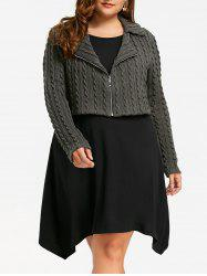 Plus Size Zip Front Cable Knit Tunic Top -
