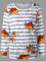 Christmas Bell and Music Score Print Sweatshirt -
