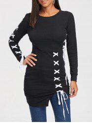 Two Tone Lace Up Long Sleeve Dress - BLACK L