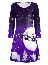 Christmas Deer Long Sleeve Tee Dress - PURPLE XL
