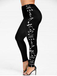 Leggings Skinny Imprimé Notes Musicales Grande Taille - Black - 3xl