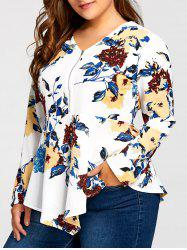 Plus Size Asymmetric Half Zipper Floral Long Sleeve Blouse - White - 3xl