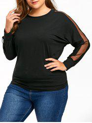 Plus Size Mesh Panel Sweatshirt -