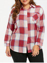 Plus Size Plaid High Low Hem Shirt -