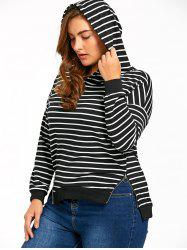 Plus Size Zip Side Striped Hoodie -