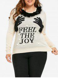 Christmas Hands Plus Size Feel the Joy Sweater -