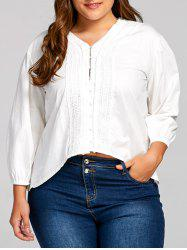 Plus Size V Neck Balloon Sleeve Peasant Blouse -