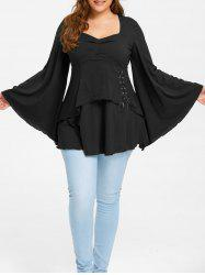 Plus Size Lace Up Flare Sleeve Top -