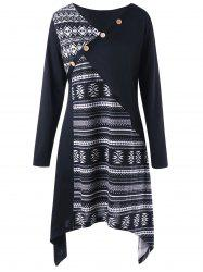 Plus Size Tribal Print Long Sleeve Tunic Top -