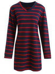 Plus Size V Neck Striped Longline T-shirt -