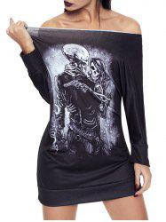 Halloween Off The Shoulder Skeleton Print Dress -