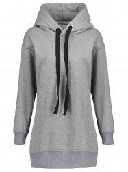 Fleece Lined Zipper Slit Plus Size Hoodie -