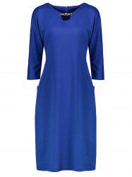 Plus Size Fitted Midi Dress with Pockets -