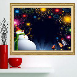 Christmas Snowman Fireworks Patterned Wall Art Painting -