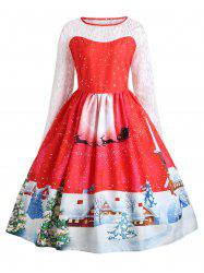 Plus Size Christmas Santa Claus Lace Sleeve Party Dress -