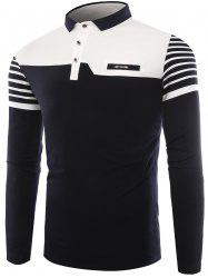 Buttons Color Block Stripe Polo T-shirt -