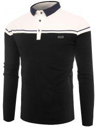 Buttons Color Block Applique Polo T-shirt -
