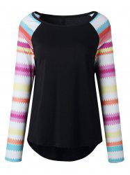 Casual Print Raglan Sleeve Top -