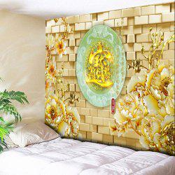 Flower Oval Jade Plate Print Wall Tapestry -