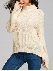 Drop Shoulder Stripy Turtleneck Sweater -