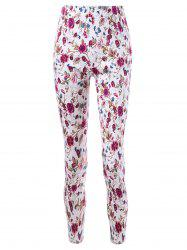 Patch Pockets Allover Floral Tight Pants -