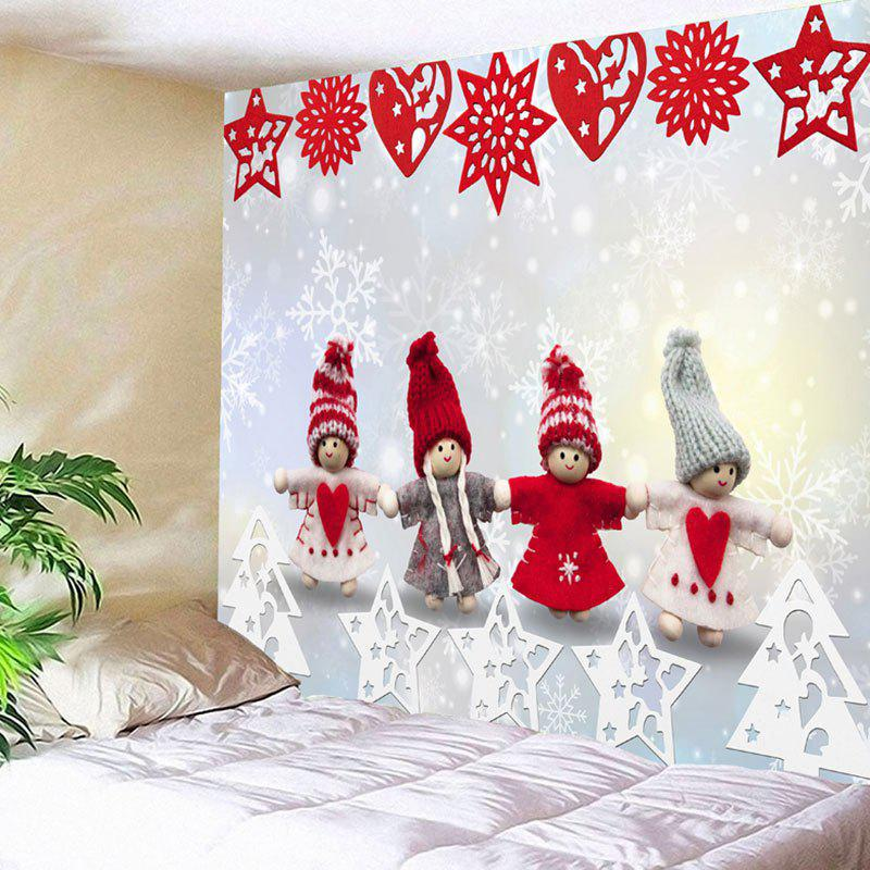 Christmas Snowman Paper Cutting Printed Wall TapestryHOME<br><br>Size: W91 INCH * L71 INCH; Color: COLORMIX; Style: Festival; Theme: Christmas; Material: Nylon,Polyester; Feature: Removable,Washable; Shape/Pattern: Snowman; Weight: 0.3750kg; Package Contents: 1 x Tapestry;