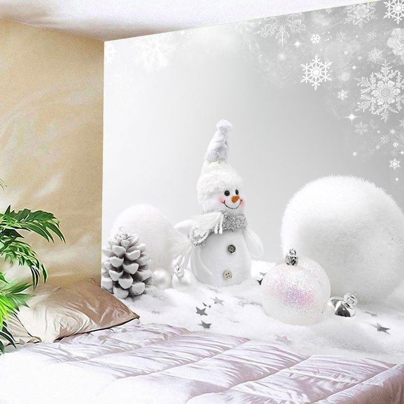 Wall Art Christmas Snowman Snowball TapestryHOME<br><br>Size: W59 INCH * L59 INCH; Color: WHITE; Style: Festival; Theme: Christmas; Material: Nylon,Polyester; Feature: Removable,Washable; Shape/Pattern: Ball,Snowman; Weight: 0.2000kg; Package Contents: 1 x Tapestry;