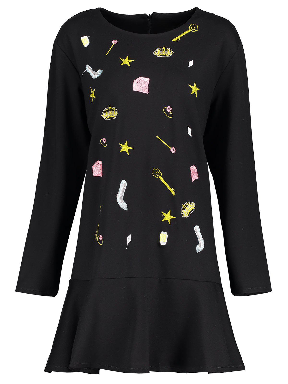 New Plus Size Embroidered Cute Drop Waist Dress