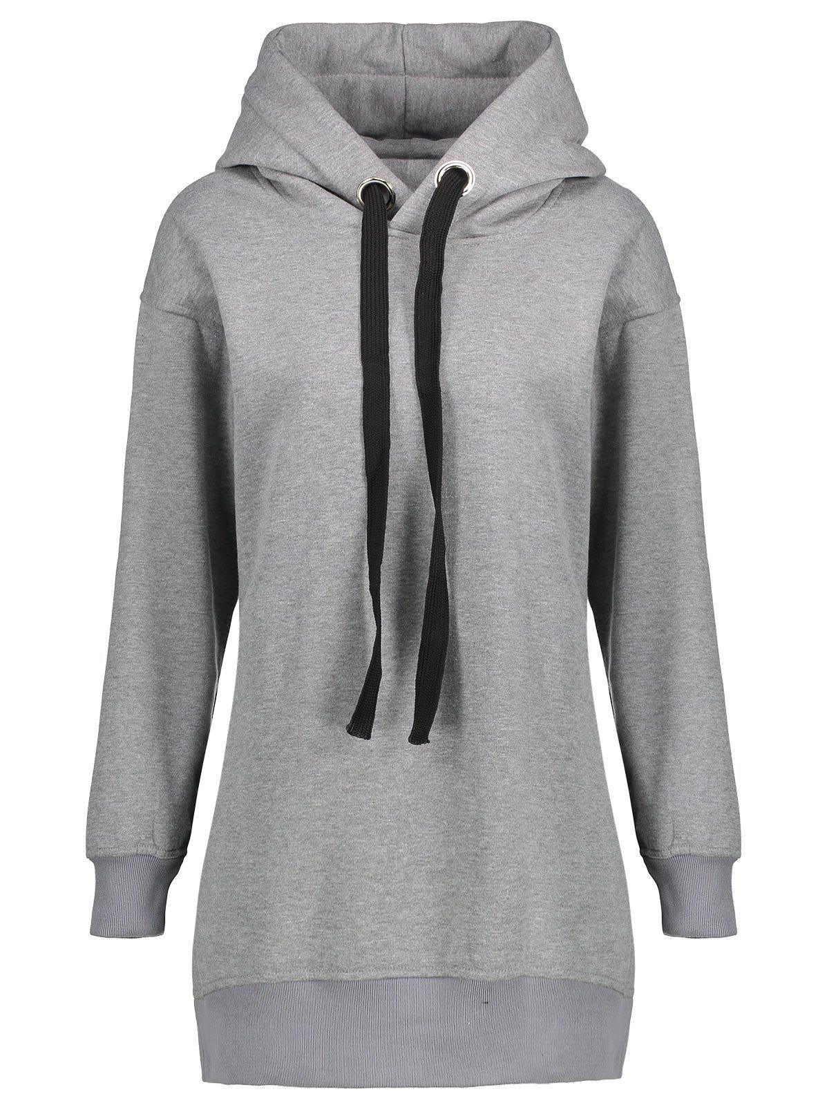Discount Fleece Lined Zipper Slit Plus Size Hoodie