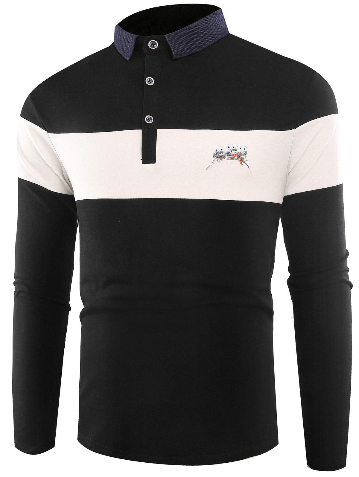 Sale Buttons Color Block Embroidered Polo T-shirt