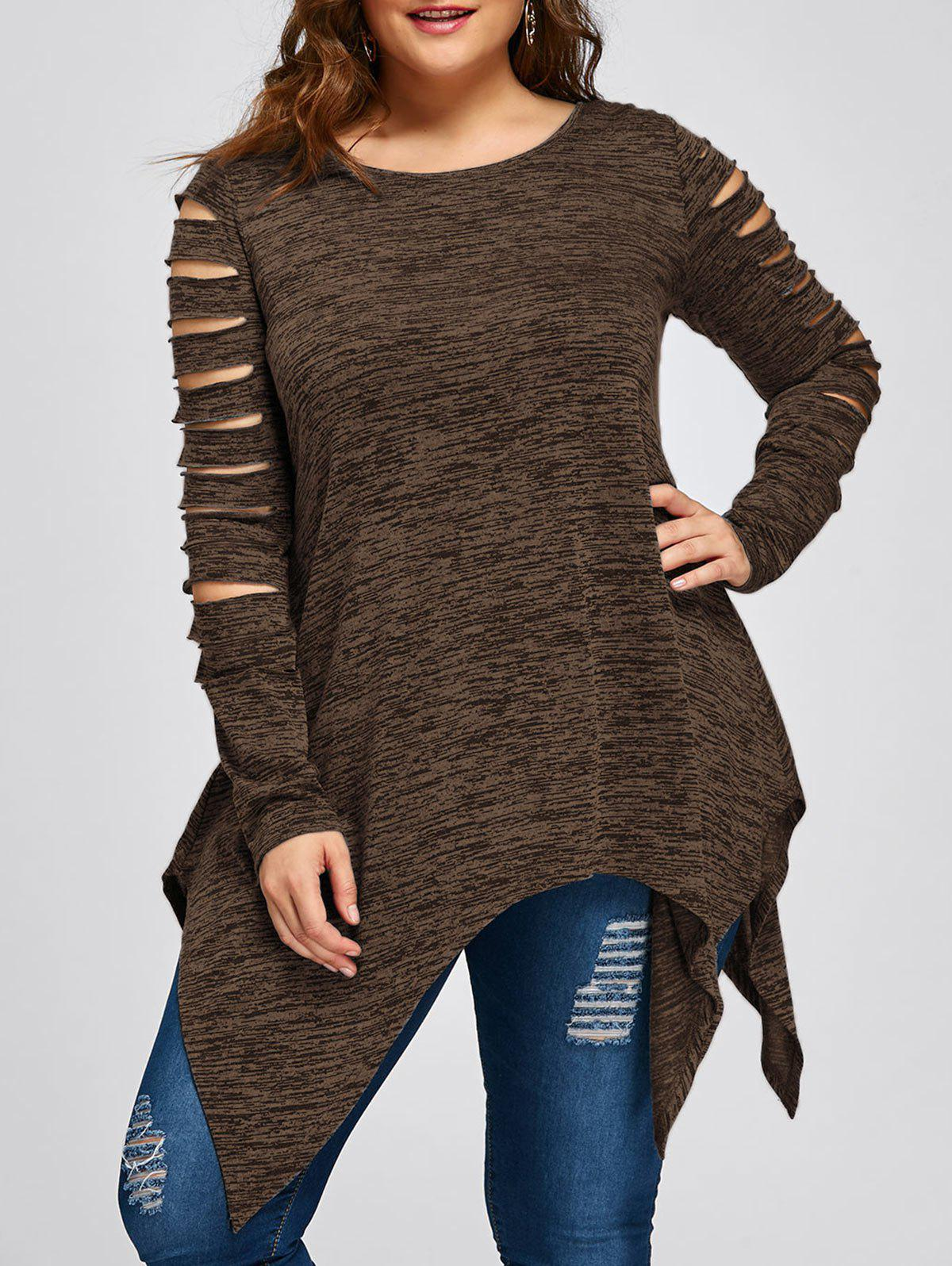 Plus Size Ripped Sleeve Marled Handkerchief TopWOMEN<br><br>Size: XL; Color: COFFEE; Material: Polyester,Rayon; Shirt Length: Long; Sleeve Length: Full; Collar: Round Neck; Style: Casual; Season: Fall,Spring; Pattern Type: Others; Weight: 0.2700kg; Package Contents: 1 x Top;