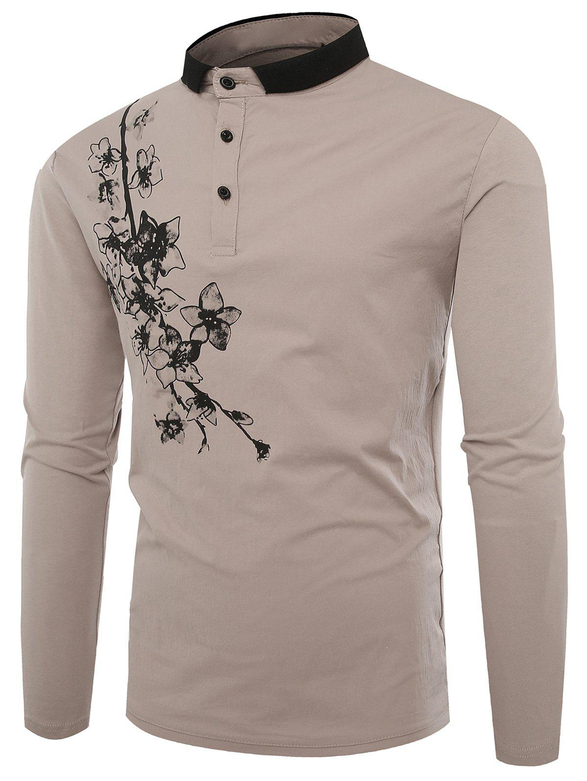 Shops Buttons Polo Florals Print T-shirt