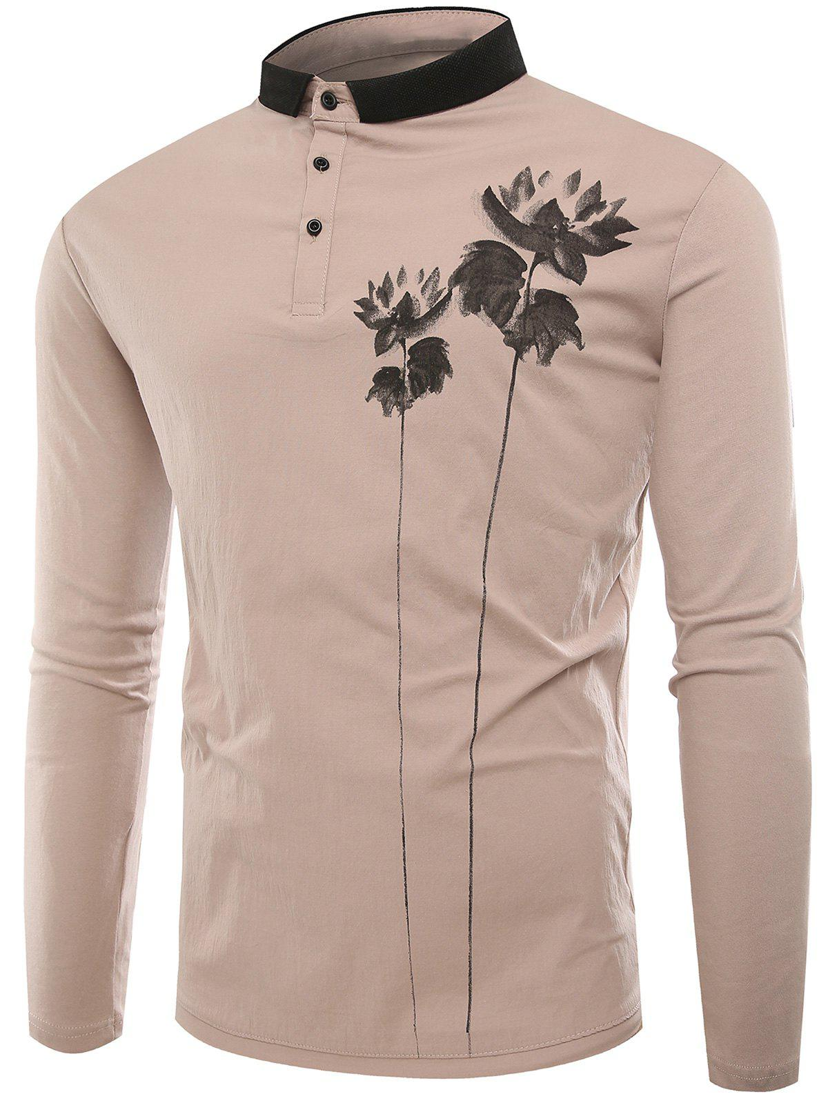 Latest Lotus Print Buttons Polo T-shirt