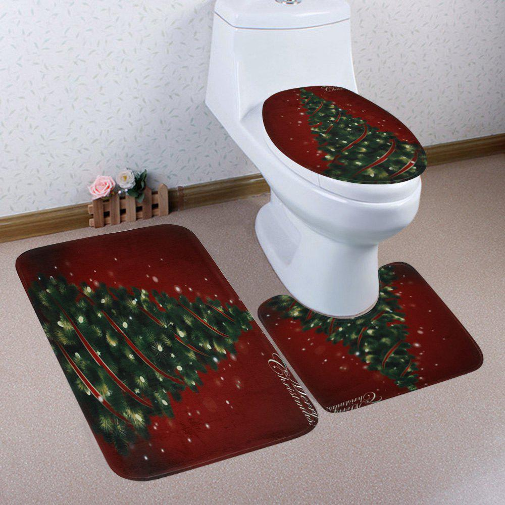 Fashion Christmas Pine Tree Pattern 3 Pcs Bath Mat Toilet Mat