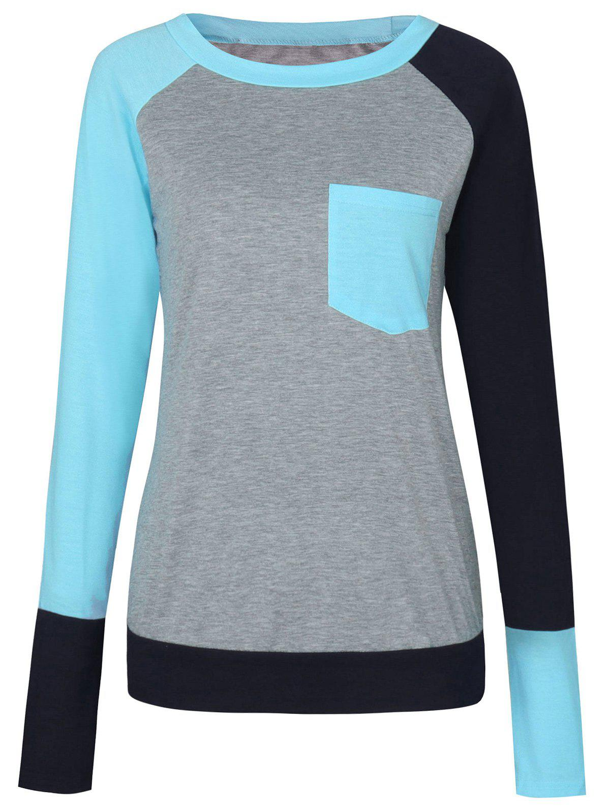 Pocket Color Block Raglan Sleeve T-shirtWOMEN<br><br>Size: L; Color: LAKE BLUE; Material: Cotton,Polyester; Shirt Length: Regular; Sleeve Length: Full; Collar: Round Neck; Style: Casual; Sleeve Type: Raglan Sleeve; Pattern Type: Others; Season: Fall,Spring; Weight: 0.2750kg; Package Contents: 1 x T-shirt;