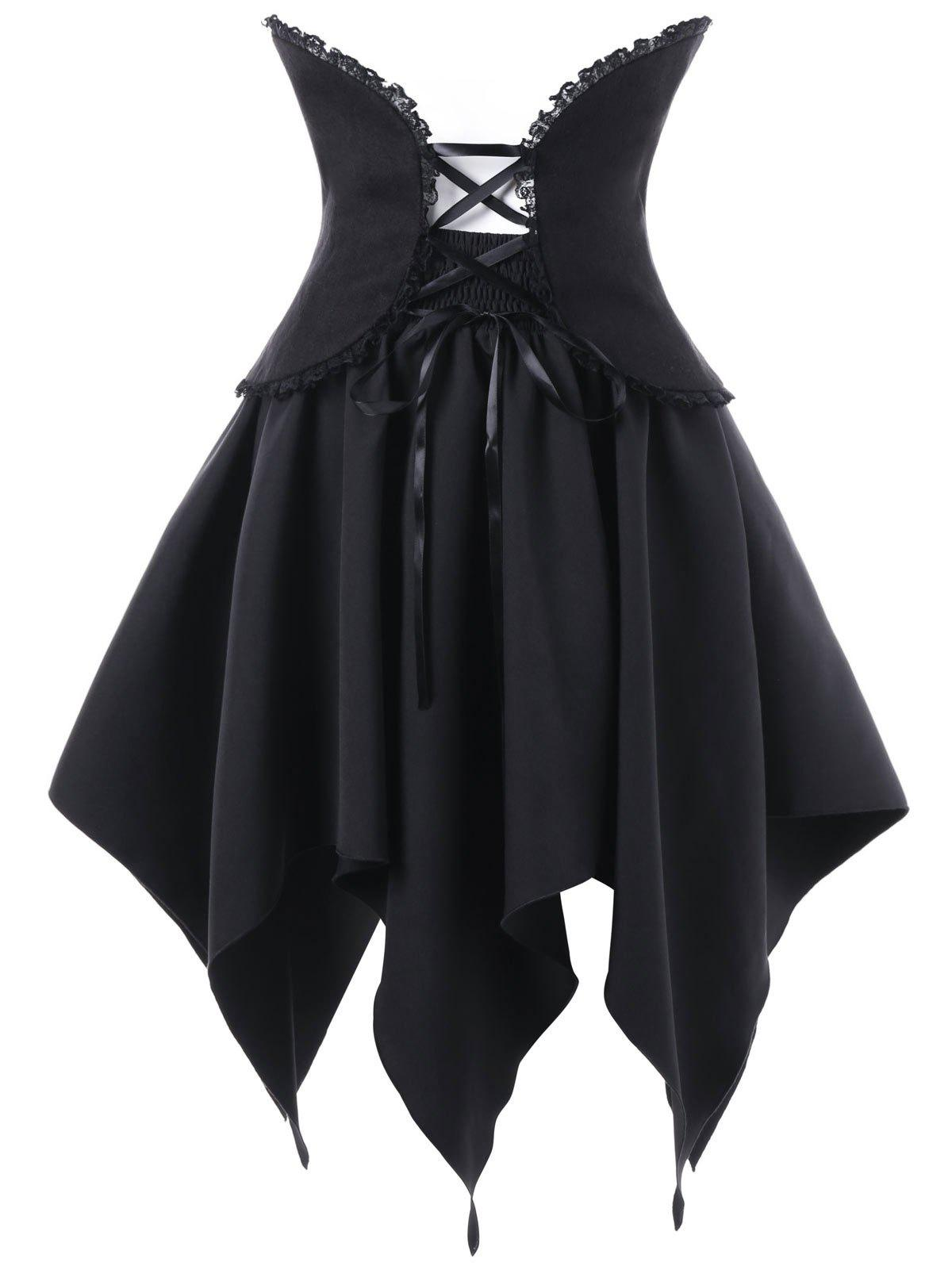 Halloween Lace Up Handerchief Skirt with Corset CummerbundWOMEN<br><br>Size: M; Color: BLACK; Material: Polyester; Length: Mini; Silhouette: A-Line; Pattern Type: Solid; Embellishment: Lace; Season: Fall,Spring; Weight: 0.4100kg; Package Contents: 1 x Skirt  1 x Belt;