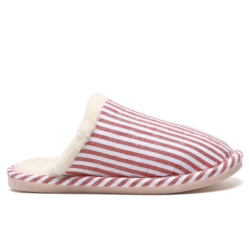 Fashion Pinstripe Faux Fur Padded House Slippers