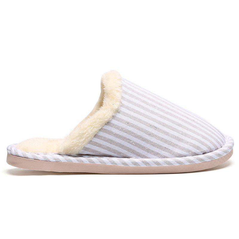 Outfit Pinstripe Faux Fur Padded House Slippers