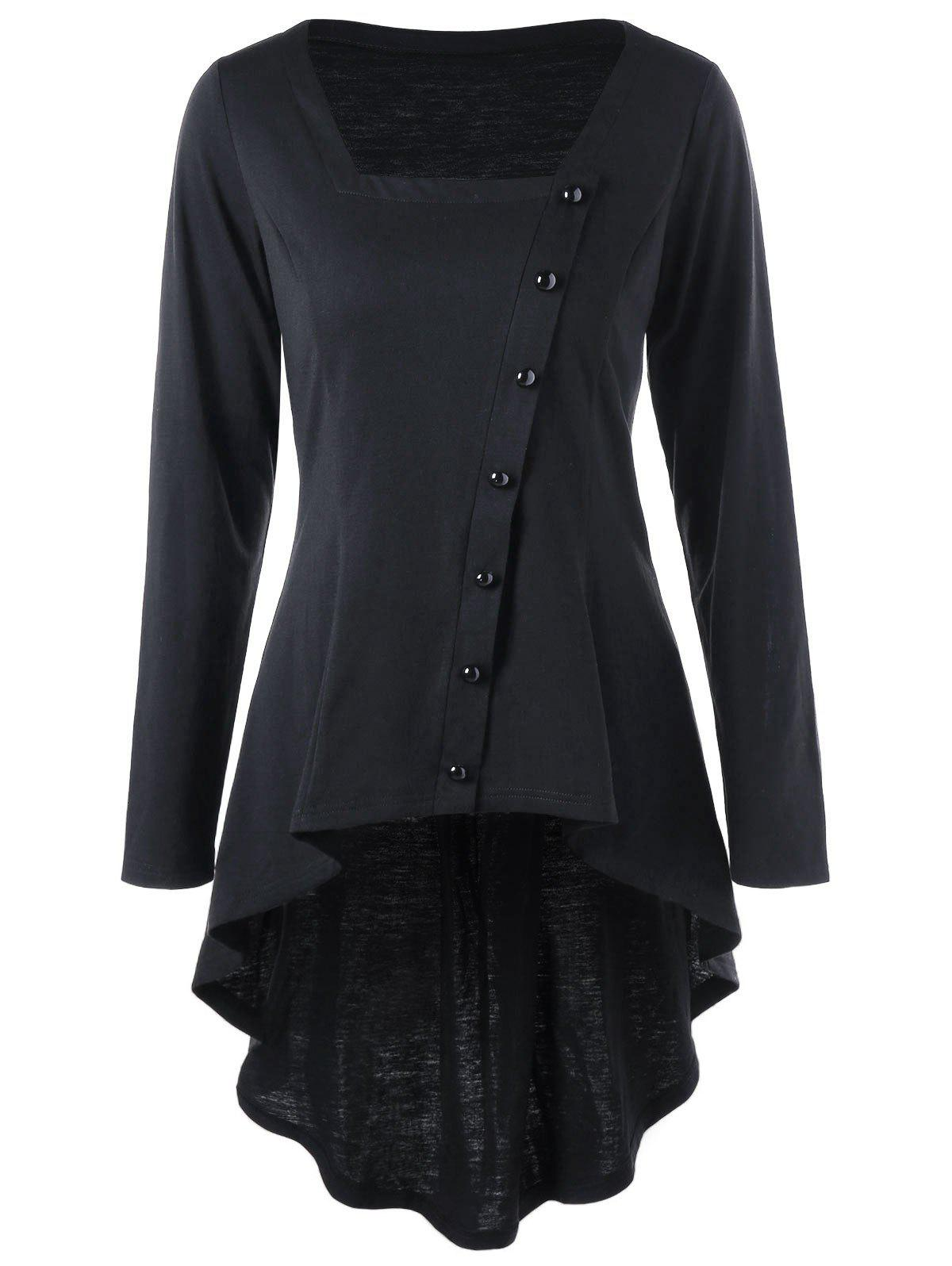 Square Neck Single Breasted Dip Hem TopWOMEN<br><br>Size: 2XL; Color: BLACK; Material: Polyester,Spandex; Shirt Length: Long; Sleeve Length: Full; Collar: Square Neck; Style: Vintage; Embellishment: Button; Pattern Type: Solid Color; Season: Fall,Spring; Weight: 0.3000kg; Package Contents: 1 x Top;