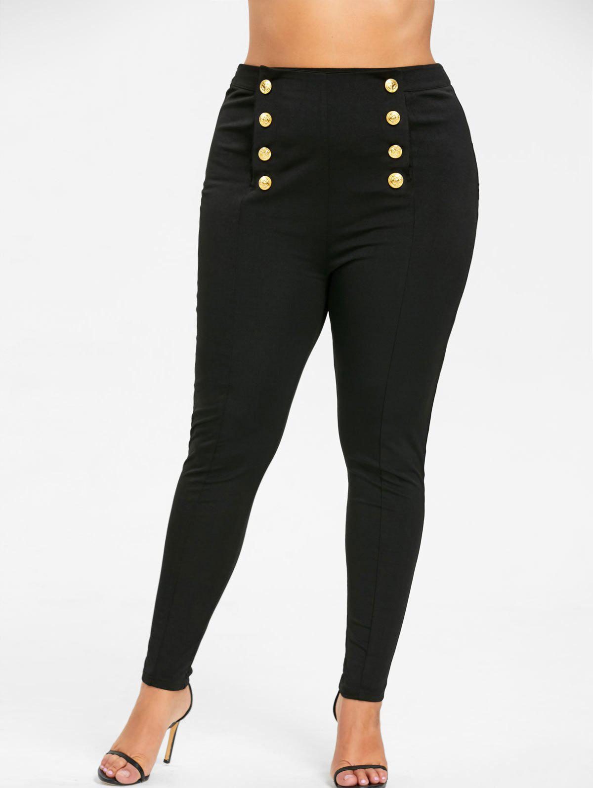 Plus Size Double Breasted Tight PantsWOMEN<br><br>Size: 3XL; Color: BLACK; Style: Fashion; Length: Normal; Material: Polyester,Spandex; Fit Type: Skinny; Waist Type: Mid; Closure Type: Button Fly; Pattern Type: Solid; Embellishment: Button; Pant Style: Pencil Pants; Weight: 0.3300kg; Package Contents: 1 x Pants;
