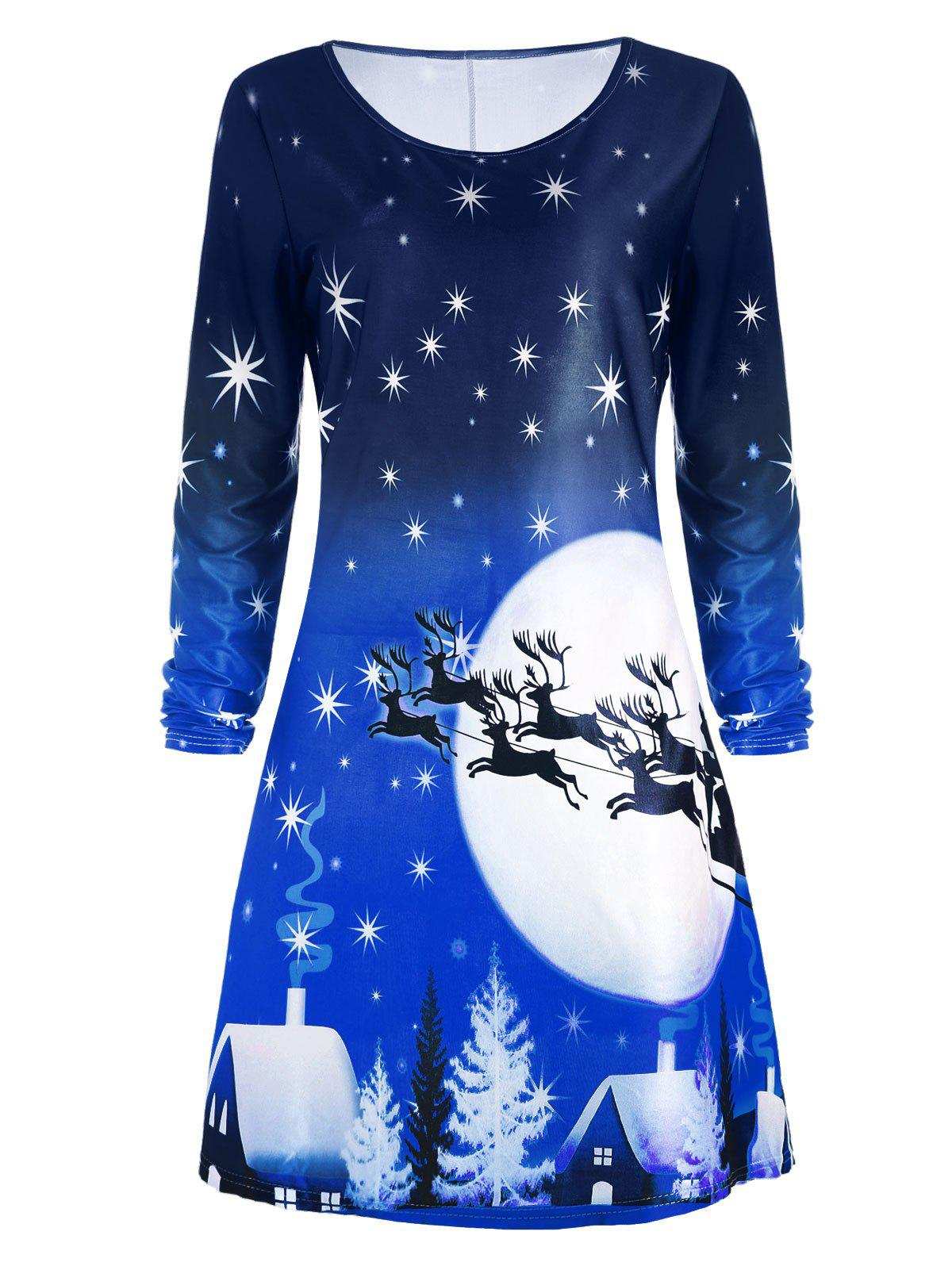 Christmas Deer Long Sleeve Tee Skater DressWOMEN<br><br>Size: 2XL; Color: BLUE; Style: Casual; Material: Polyester; Silhouette: A-Line; Dresses Length: Knee-Length; Neckline: Round Collar; Sleeve Length: Long Sleeves; Pattern Type: Animal,Character,Print,Star; With Belt: No; Season: Fall; Weight: 0.2300kg; Package Contents: 1 x Dress; Occasion: Casual;