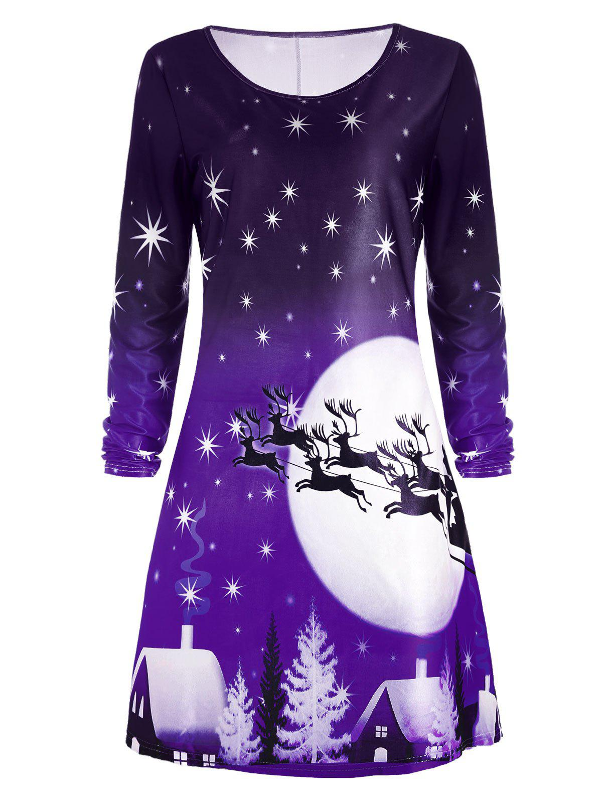 Christmas Deer Long Sleeve Tee Skater DressWOMEN<br><br>Size: 2XL; Color: PURPLE; Style: Casual; Material: Polyester; Silhouette: A-Line; Dresses Length: Knee-Length; Neckline: Round Collar; Sleeve Length: Long Sleeves; Pattern Type: Animal,Character,Print,Star; With Belt: No; Season: Fall; Weight: 0.2300kg; Package Contents: 1 x Dress; Occasion: Casual;