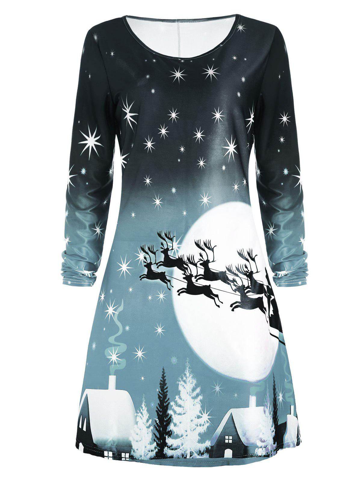 Christmas Deer Long Sleeve Tee Skater DressWOMEN<br><br>Size: 2XL; Color: SAGE GREEN; Style: Casual; Material: Polyester; Silhouette: A-Line; Dresses Length: Knee-Length; Neckline: Round Collar; Sleeve Length: Long Sleeves; Pattern Type: Animal,Character,Print,Star; With Belt: No; Season: Fall; Weight: 0.2300kg; Package Contents: 1 x Dress; Occasion: Casual;