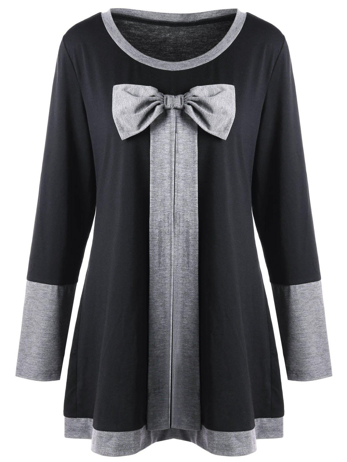 Plus Size Bowknot Embellished Longline TopWOMEN<br><br>Size: 3XL; Color: BLACK; Material: Polyester,Spandex; Shirt Length: Long; Sleeve Length: Full; Collar: Round Neck; Style: Casual; Season: Fall,Spring; Embellishment: Bowknot; Pattern Type: Solid; Weight: 0.3500kg; Package Contents: 1 x Top;