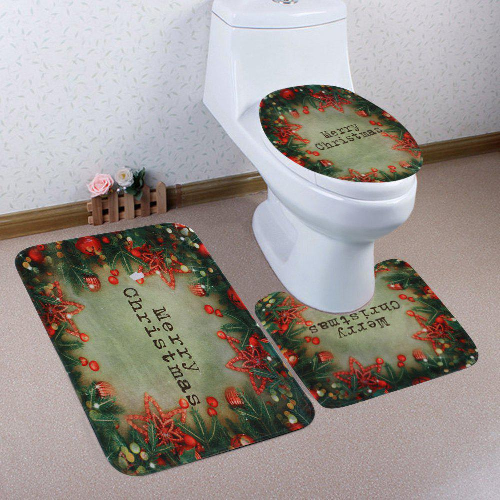 Discount Christmas Tree Decorations Pattern 3 Pcs Bath Mat Toilet Mat